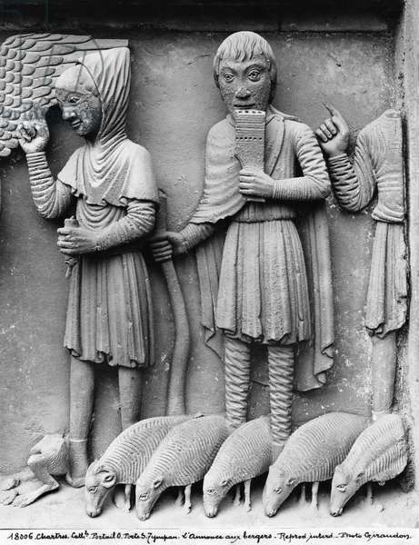 West portal, South door, tympanum depicting the Madonna and Child Enthroned, Annunciation of the Shepherds, c.1145-50 (detail) (stone) (b/w photo)