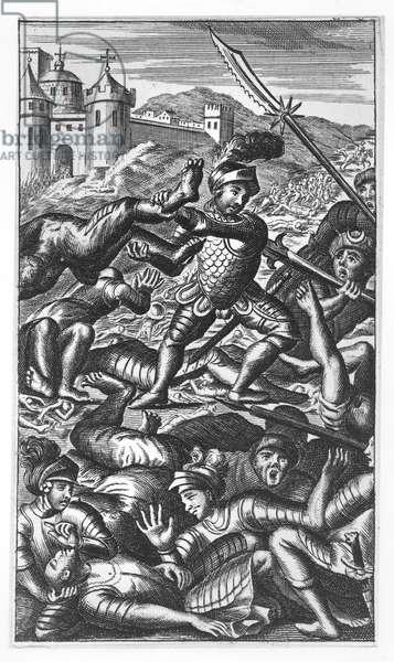 Pantagruel defeating three hundred giants, illustration from 'Gargantua and Pantagruel', by François Rabelais (engraving)