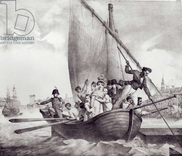 Bonaparte family arriving in Toulon (France), when fleeing from Corsica, 17 June 1793, engraved by Motte, Charles (1785-1836) (litho) (b/w photo)
