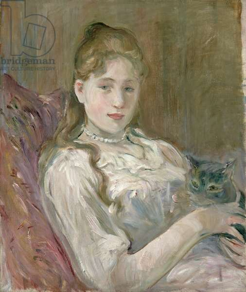 Young Girl with Cat, 1892 (oil on canvas)