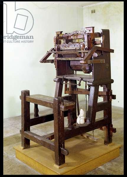 First loom for weaving stockings, 1750 (wood & metal)