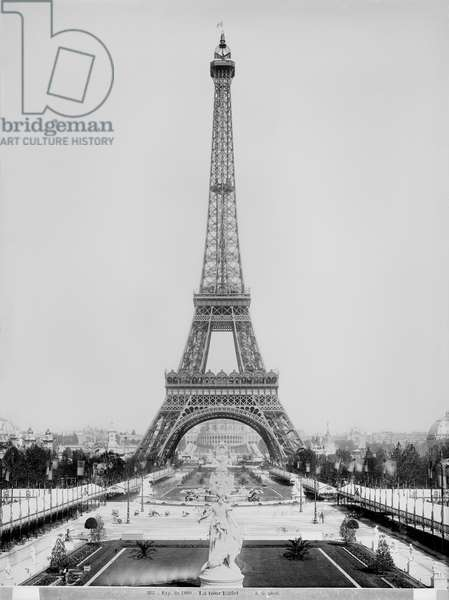 The Eiffel Tower (1887-89) photographed during the Universal Exhibition of 1889 in Paris, architect Gustave Eiffel (1832-1923) (b/w photo)