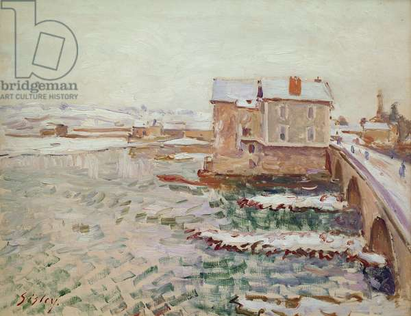 The Moret Bridge during the winter of 1889, after 1889 (oil on canvas)