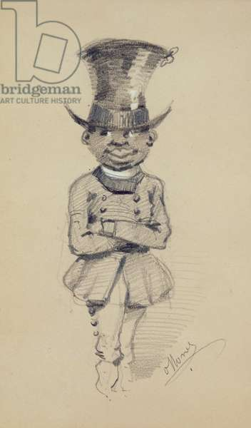 Groom in a top hat, 1857 (black & white chalk on paper)