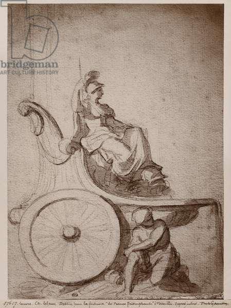 Triumphant France, c.1674 (pierre noire & grey wash on paper)