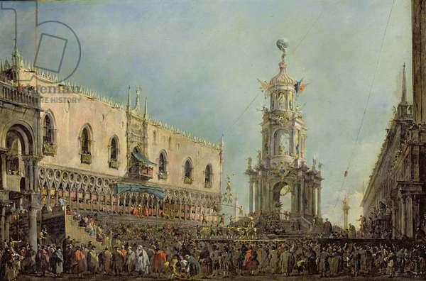 The Doge Watching the Festival of Giovedi Grasso in the Piazzetta di San Marco, 1766-70 (oil on canvas)