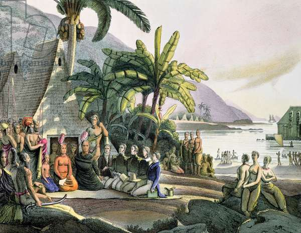 Meeting between the Expedition Party of Otto von Kotzebue (1788-1846) and King Kamehameha I (1740/52-1819) Ovayhi Island (colour litho)