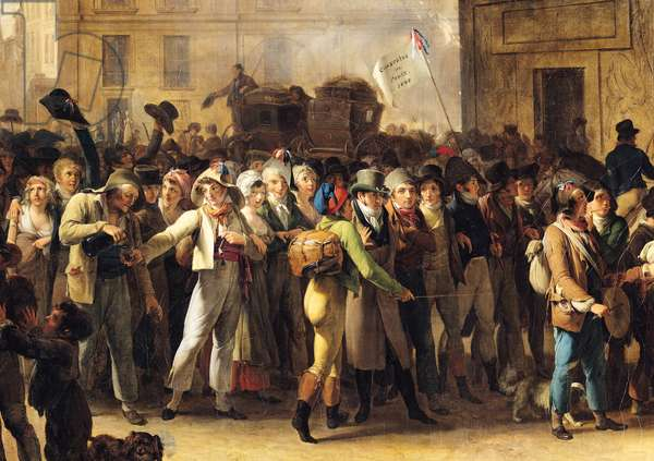 The Conscripts of 1807 Marching Past the Gate of Saint-Denis, detail of the conscripts (oil on canvas) (see also 92387)