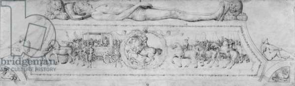 Tomb of a Prince, from the Jacopo Bellini's Album of drawings (pen & brown ink & metal point on vellum) (b/w photo)