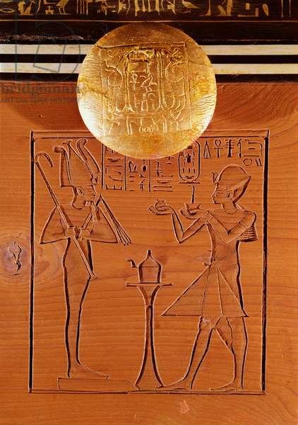 Portable chest, detail of Tutankhamun (c.1370-1352 BC) making an offering to Osiris, from the Tomb of Tutankhamun, New Kingdom (ebony, ivory, wood & bronze)