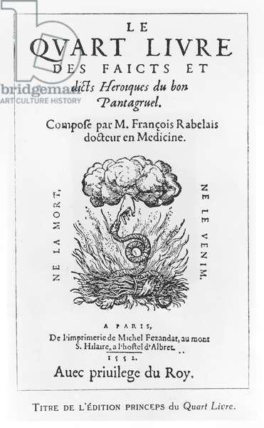 Title page of 'Le Quart Livre des Faicts et Dicts Heroique du Bon Pantagruel', by François Rabelais, 1552 (engraving)