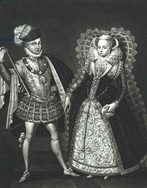 Portrait of Mary Queen of Scots (1542-87) and Henry Stewart, Lord Darnley (1545-67), 29th June 1565 (engraving) (b/w photo)