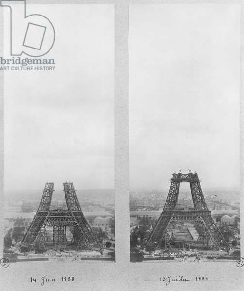 Two views of the construction of the Eiffel Tower, Paris, 14th June and 10th July 1888 (b/w photo)