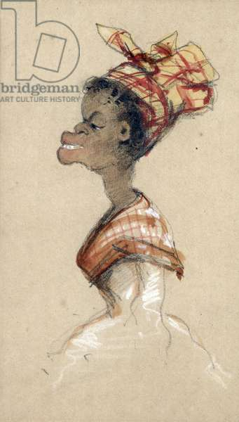 Black Woman Wearing a Headscarf, 1857 (charcoal & w/c on paper)