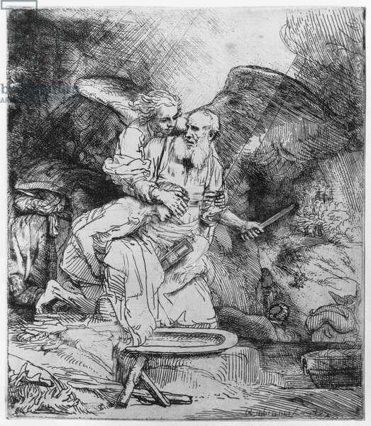 The Sacrifice of Abraham, 1645 (etching) (b/w photo)