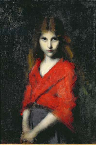 Portrait of a Young Girl, The Shiverer (oil on canvas)