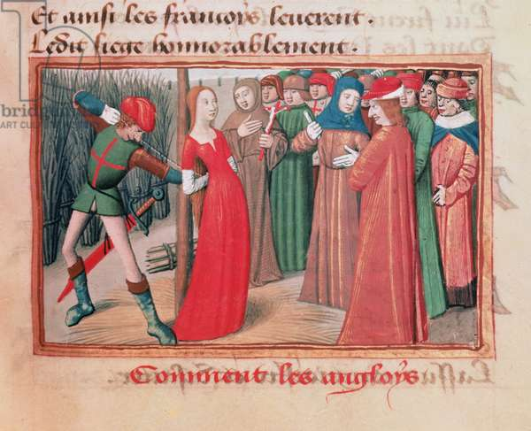 Ms Fr 5054 f.71 Joan of Arc at the stake, from 'Les Vigiles de Charles VII' by Martial d'Auvergne, 1484 (vellum)
