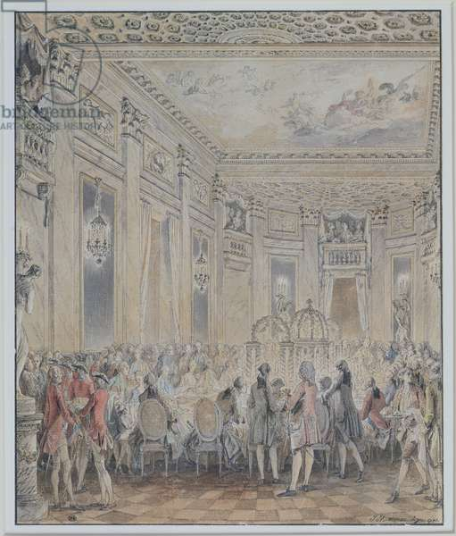 Feast given by Madame du Barry (1743-93) for Louis XV on 2nd September 1771 at the inauguration of the Pavillon at Louveciennes, 1771 (pen & ink and w/c on paper)