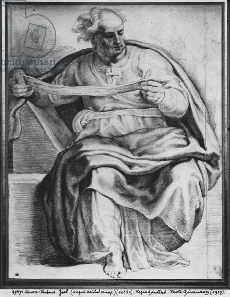 The Prophet Joel, after Michelangelo Buonarroti (pierre noire & red chalk on paper)