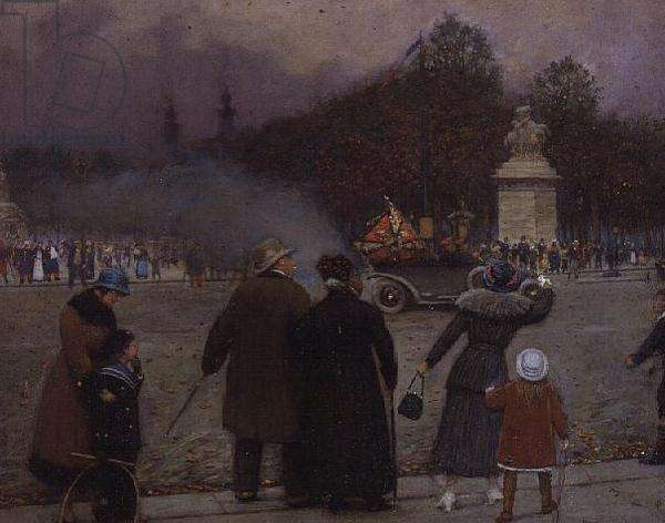 The German Flag Taken to Les Invalides, c.1914 (oil on card)