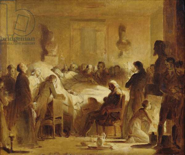 The Last Moments of Charles-Ferdinand of France (1778-1820) in the Administration Room of the Paris Opera House, 14th February 1820, 1820-50 (oil on canvas)