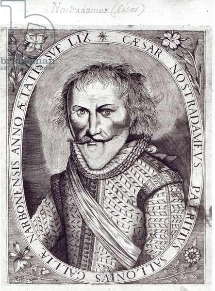 Cesar Nostradamus (1555-1629), aged 59, son of Michel Nostradamus, 1614 (engraving) (b/w photo)