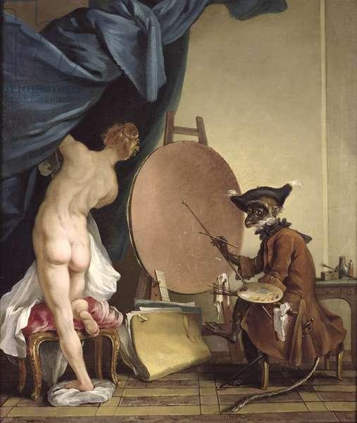 The Monkey Painter (oil on canvas)