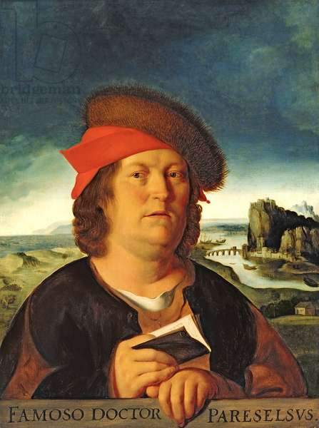 Portrait presumed to be Paracelsus (1493-1541) (oil on panel)