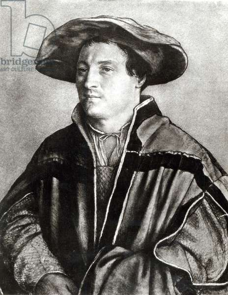 Portrait of a man with a red hat, c.1530 (chalk & w/c on paper) (b/w photo)