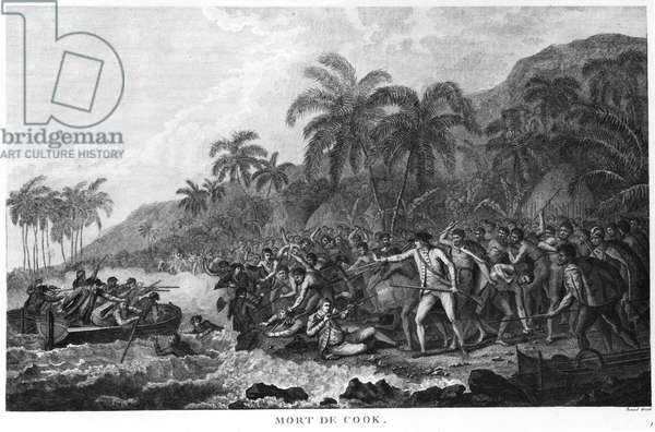 The Death of Captain James Cook (1728-79) 14th February 1779 (engraving) (b/w photo)
