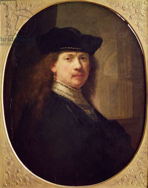 Self Portrait with Hat with Architecture in the Background, 1637 (oil on wood)