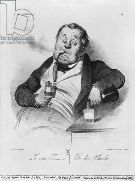 A true smoker, from the series 'Galerie physionomique', 1836 (litho) (b/w photo)