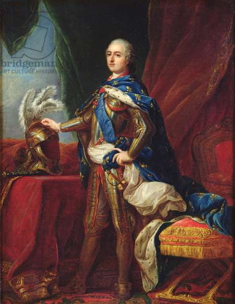 Portrait of Louis XV in armour (oil on canvas)