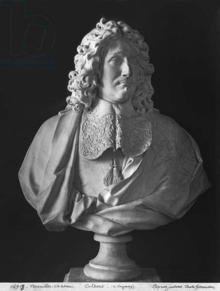 Bust of Jean-Baptiste Colbert de Torcy (marble) (b/w photo)