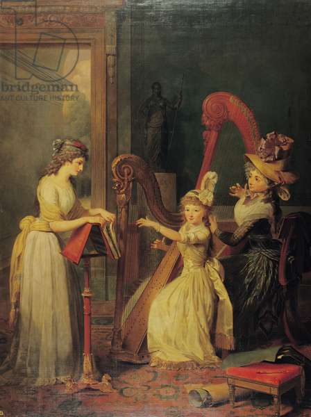 Harp lesson given by Madame de Genlis to Mademoiselle d'Orleans with Mademoiselle Pamela Turning the Pages, c.1842 (oil on canvas)