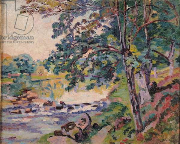 The Creuse at Genetin (oil on canvas)