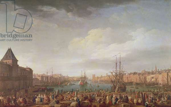 Morning View of the Inner Port of Marseille and the Pavilion of the Horloge du Parc, 1754 (oil on canvas)