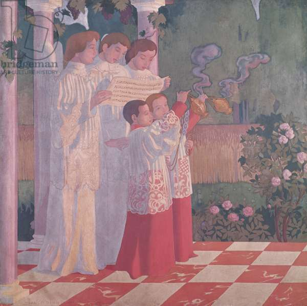 Exaltation of the Holy Cross and the Glorification of the Mass, left hand side of the central panel of an altarpiece from the Chapelle du College Sainte-Croix du Vesinet, 1899 (oil on canvas)