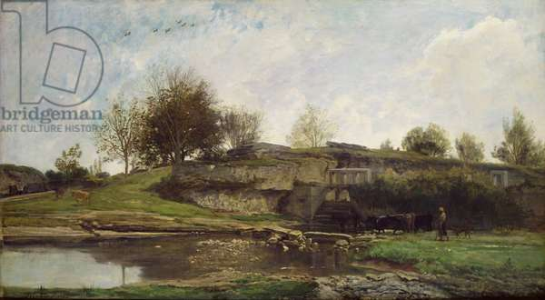 The Lock at Optevoz, 1855 (oil on canvas)