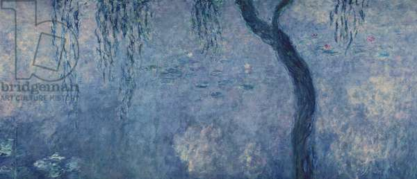Waterlilies: Two Weeping Willows, right section,  c.1915-26 (oil on canvas)  (see also 75700-02)