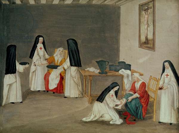 Caring for the Sick, from 'L'Abbaye de Port-Royal', c.1710 (gouache on paper)