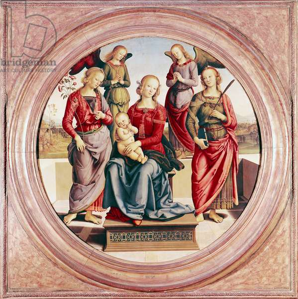 Madonna and Child with St. Rose and Catherine of Alexandra (oil on panel)