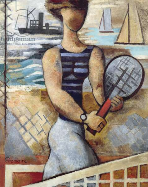 Tennis by the Sea, 1928 (oil on canvas)