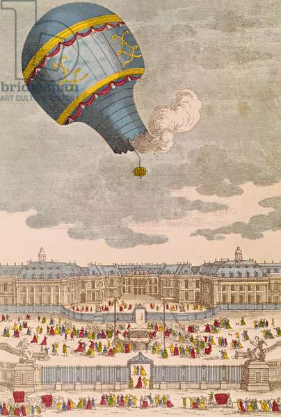 The Ballooning Experiment at the Chateau de Versailles, 19th September, 1783 (coloured engraving)
