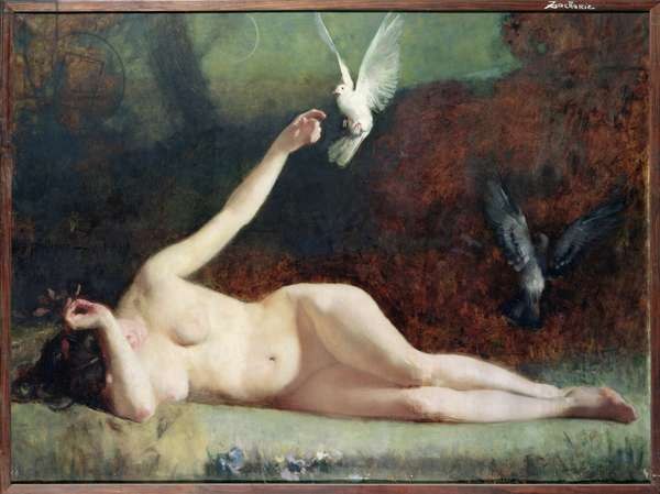 Woman with Pigeons, c.1883 (oil on canvas)