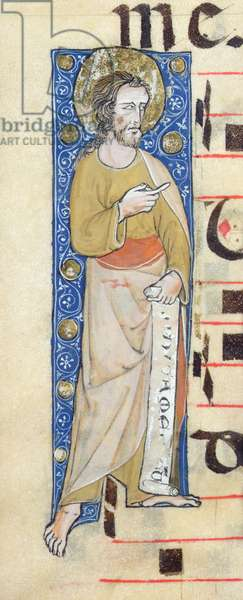 An apostle holding a phylactery, 'Judica me deus', c.1320 (vellum)