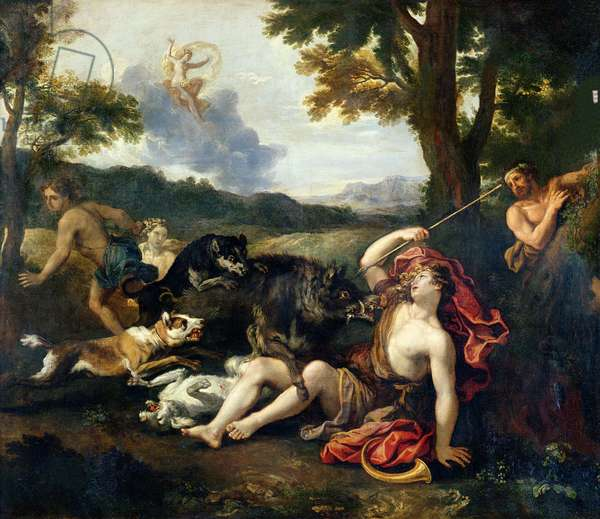 Adonis Killed by a Wild Boar (oil on canvas)