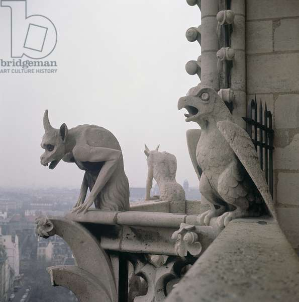 Gargoyles on the balustrade of the Grande Galerie, replica of a 12th century original (stone)