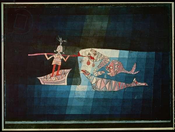 Battle scene from the comic fantastic opera 'The Seafarer', 1923 (no 123) (oil transfer, pencil, w/c & gouache on paper)