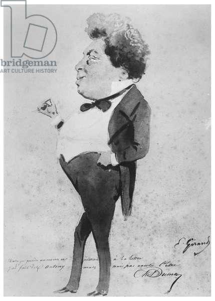 Caricature of Alexandre Dumas, Fils (litho)